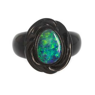 Vintage French Jet And Doublet Ring