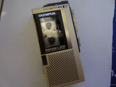 Olympus Pearlcorder L200 Micro Cassette Recorder & Case With 6 New Tdk Tapes