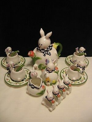 Springtime Easter bunny rabbit tulip 20 piece ceramic tea set by Mercuries(F47)