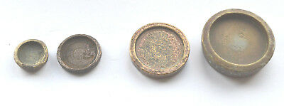 17th-19th Century Brass Weights 2oz,1oz  1/4 and 1/10th of an ounce