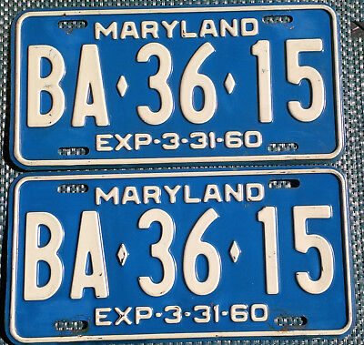 1960 Maryland license plates - matched pair