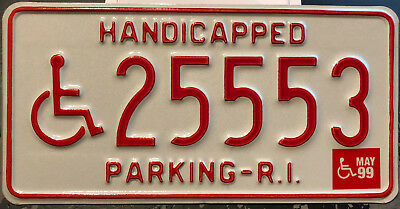 1999 Rhode Island handicapped license plate/placard
