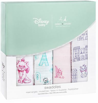 aden + anais DISNEY CLASSIC SWADDLE 4 PACK 101 ARISTOCATS Baby Bedding BN
