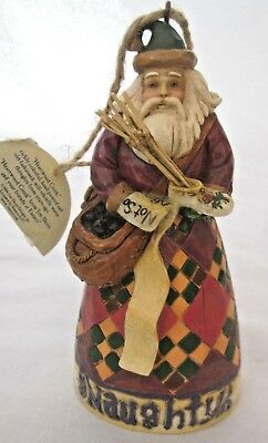 "NIB Jim Shore Heartwood Creek ""Santa Naughty/Nice"" 2 sided Ornament 4005789"