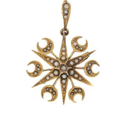 Antique Victorian Gold Seed Pearl Star And Moon Brooch/Pendant