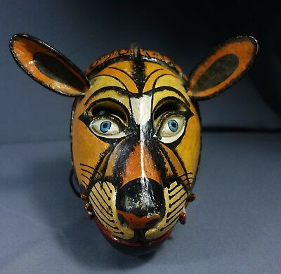 Antique Handcrafted Guatemalan Wooden Lion Dance Mask
