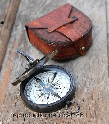 Antique Brass Astrolabe Working Compass With Leather Case Vintage Marine Decor