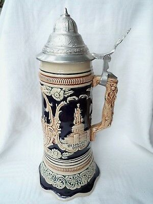Vintage Musical German Beer Stein with Pewter lid O Mein Papa H27cm Hamburg