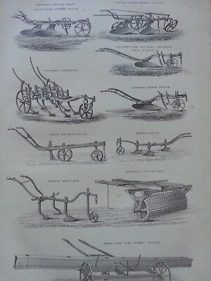 Antique Print Dated 1880 Agriculture Engraving Farming Ploughs Cultivator Hoe