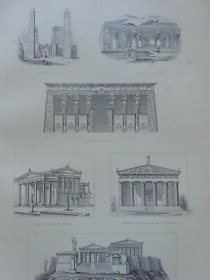 Antique Print Dated 1880 Architecture Engraving The Acropolis Athens Greece Art