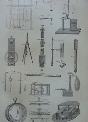Antique Print Dated 1880 Balance Barometer Blowpipe Engraving Science Equiptment