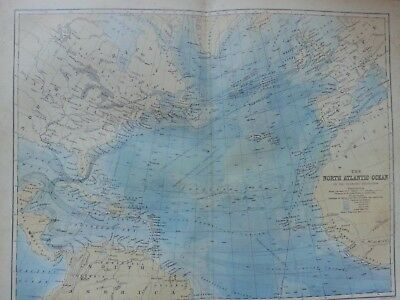 Antique Print Dated 1880 Map Of The North Atlantic Ocean The Gnomonic Projection