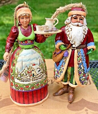 Jim Shore Heartwood Creek Santa / Mrs. Claus Ornament Set of 2 NIB 4005769
