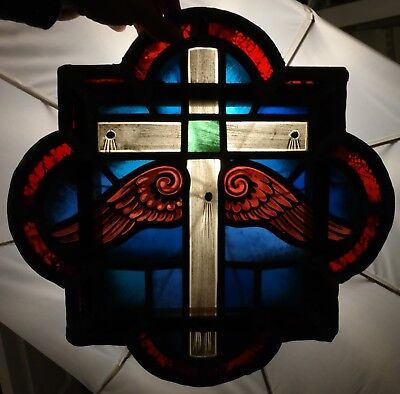 Antique WINGED CRUCIFIX Old RELIGIOUS Painted CROSS Leaded STAINED GLASS WINDOW