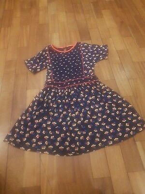girls blue and orange flowered dress mini boden