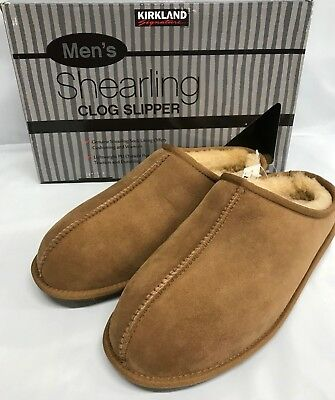 Kirkland Signature Men's Suede Shearling Clog Slippers Chestnut Pick Size New