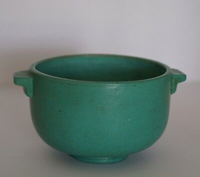 Old Pottery Art & Crafts Green Bowl Numbered 114 Beautiful Deco Handles
