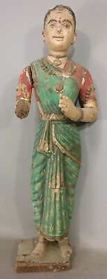Antique INDIA type CARVED WOOD Relic LADY BUDDHA Old ANCESTOR Sculpture STATUE