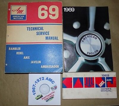 1969 AMC ORIG Service_Owner's Manual +Brochure 4pc SET_Big Bad AMX/Javelin SST