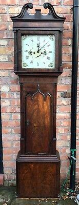 Antique Inlaid Mahogany Georgian 8 Day Longcase Grandfather Clock