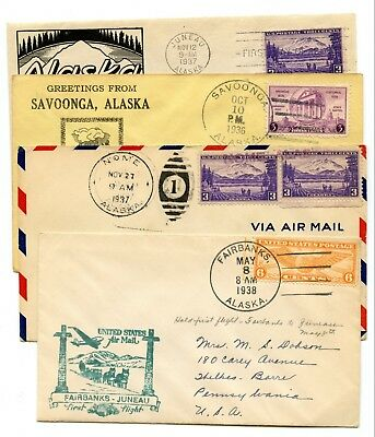 Interesting Lot of Four Covers Commemorating Territorial Alaska! Take a L@@K!