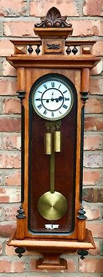 Antique Enamel Dial Twin Weighted Vienna Clock  Remember Co