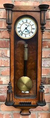 Antique Enamel Dial Walnut And Ebony Single Weighted Vienna Clock