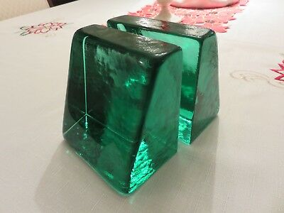 """Vintage ? Emerald Green Art Glass Solid Block Style 4"""" X 4""""  Bookends EUC"""