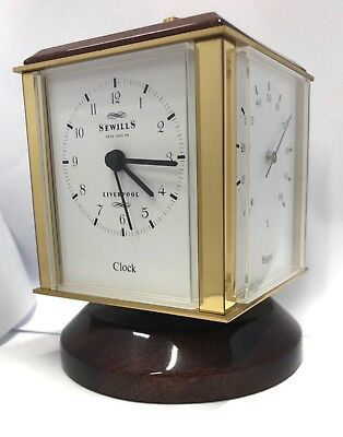 Sewills Sewill Brass & Mahogany Weather Desk Top Cube Clock with Weather Station