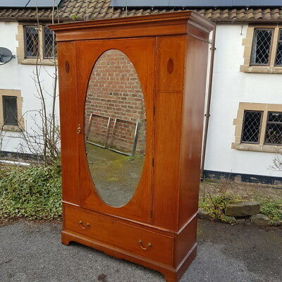 A Beautiful Antique Edwardian Wardrobe with Inlaid Detail and Mirror to Front