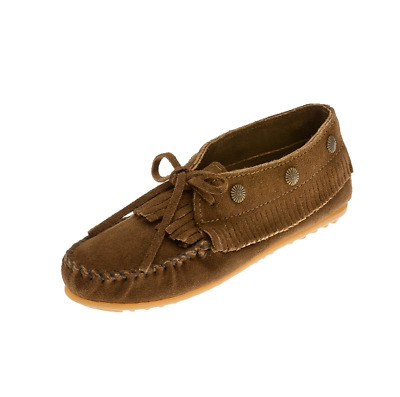 Minnetonka Moccasins Women's Dusty Brown Suede Fringed Moccasin, 533, New In Box