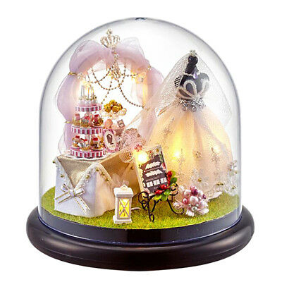 Dolls House Garden DIY Handcraft Miniature Wedding with Glass Cover