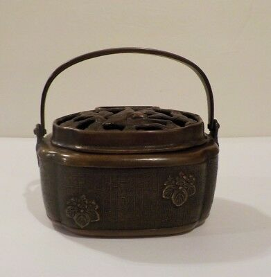 Chinese Bronze Ming Style Hand Warmer Engraved Decoration