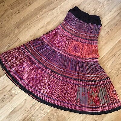 NEW Authentic Thai Hill Tribe Midi Skirt Red Orange Pink Size 10-12