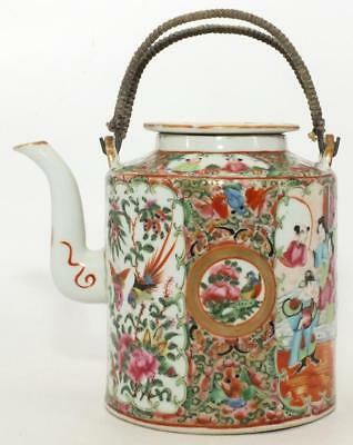 Excellent Large Canton Chinese Famille Rose Medallion Teapot