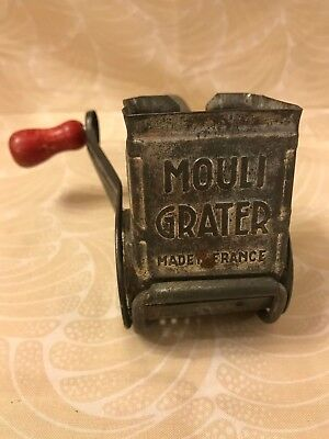 VINTAGE MOULI CHEESE GRATER Made in France Metal Drum Barrel w/ Red Wood Handle