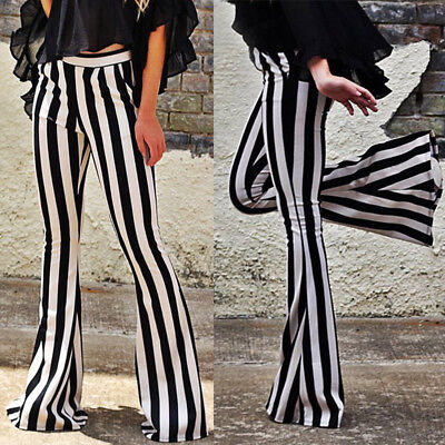 Women Bell Bottoms Flare Trousers High Waist Stretch Stripe Long Pants Spring