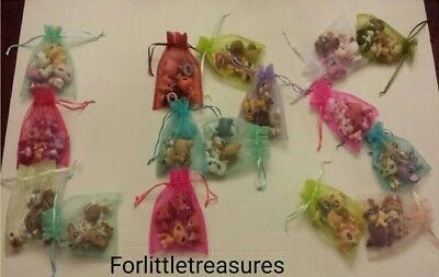 LPS 💕Littlest Pet Shop Lot 10 Pcs (6 Pets +1 Dog or Cat + 3 accessories)🎁 Bag