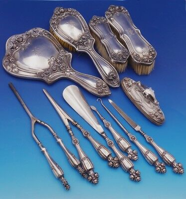 "Bridal Rose by Alvin Simons Sterling Silver Dresser Set 11pc with Mono ""K"" #3126"