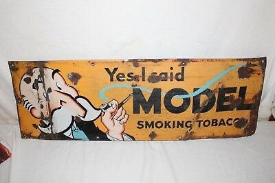 "Vintage 1930's Model Smoking Pipe Tobacco Gas Oil 36"" Porcelain Metal Sign"