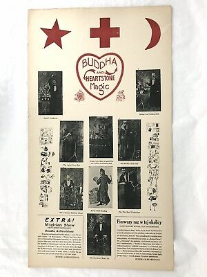 Vintage Magic Poster Window Card Buddha And Heartstone Magic Polish Magician