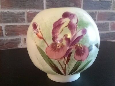 Antique Globe Or Shade For Miniature Lamp Hand Painted Milk Glass
