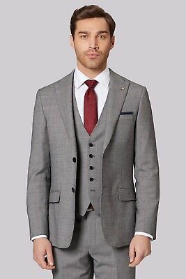NWT Ted Baker Gold Tailored Birdseye Weave Grey Jacket Wool 42R £229