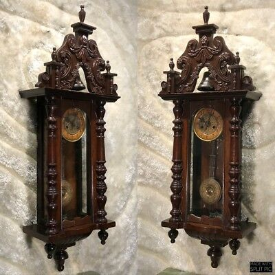 Rare Amazing Vtg Antique Germaney Vienna Bell Chimes Wall Pendulum Clock Work