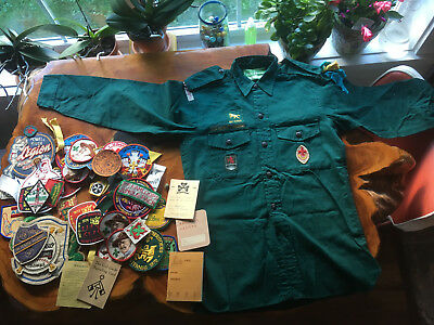 VINTAGE Boy Scouts cubs brownies girl guides badges emblems shirt COLLECTION