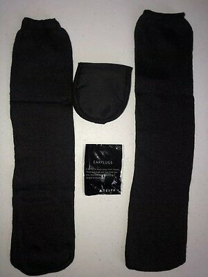 Delta Airline Business Class Eye Mask Socks Ear Plugs For Travel, All Black