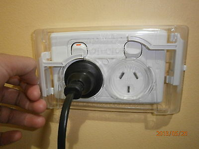 "SiX (6) ""Gee Whizz Protectors"" Safety double power point cover. Outlet Cover Kit"