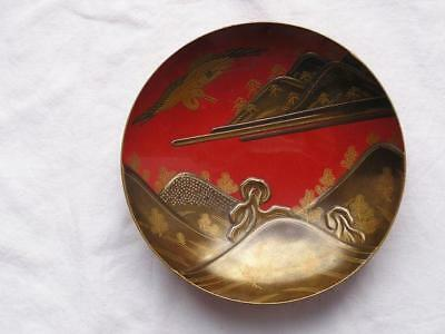 Antique Japanese lacquer sake cup with landscape and crane 1900-15 #4112C