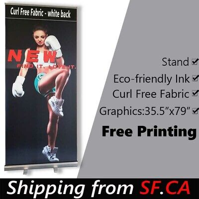Standard Retractable Roll Up Banner Stand + Free & Eco-friendly Printing 36x80