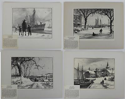 Pencil Signed GORDON GRANT Antique Early 20thC Winter Harbor Scene Lithographs